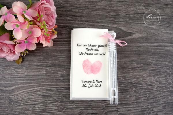 Freudentränen Taschentücher flach mit Bubbles, Design Fingerprint rosa