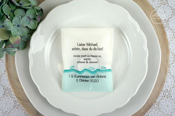 LichtBotschaft Design Aquarellband/Fische Türkis dunkel - Verpackung als Tischkarte