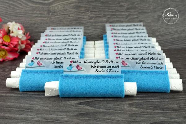 """Freudentränen Taschentücher Filz Blau Design """"Hochzeitsvögel"""" Blau/Pink"""