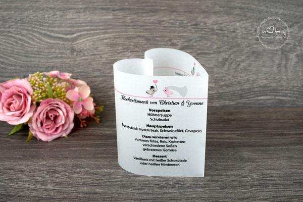 Menükarte Herzform 10,5cm, Design Hochzeitsvögel graubraun/puderrosa
