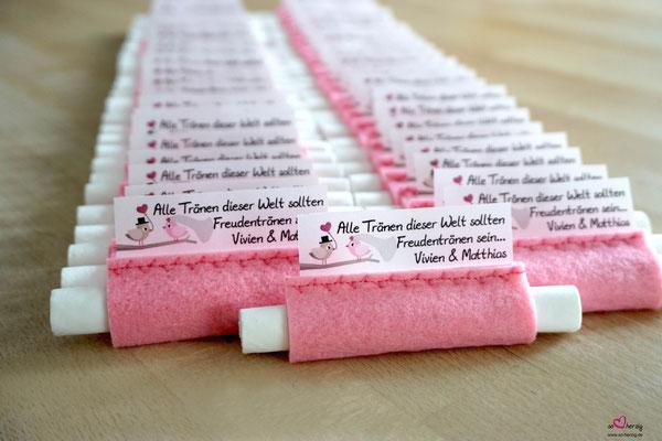 Freudentränen Taschentücher Filz rosa