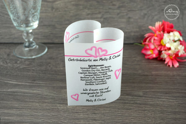 Getränkekarte Herzform 10,5cm Design Aquarellherzen Pink