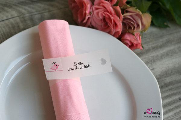 Serviettenring Taufe, Design Vögelchen rosa, Randabschluss Herz