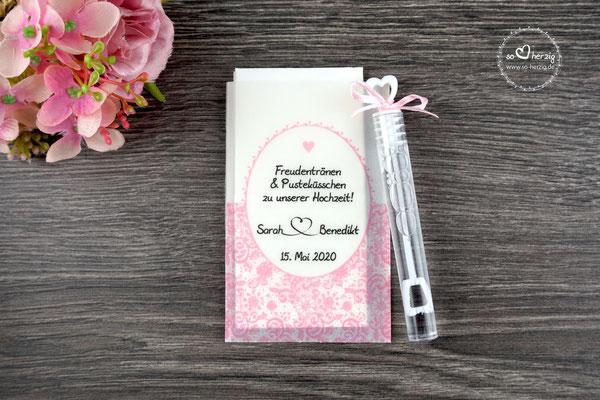 Freudentränen Taschentücher aus Pergamentpapier mit Bubbles, Design Romantik Rosa