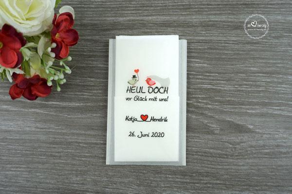 Freudentränen Taschentücher Design Hochzeitsvögel Rot/Beigegrau ohne Herzrand