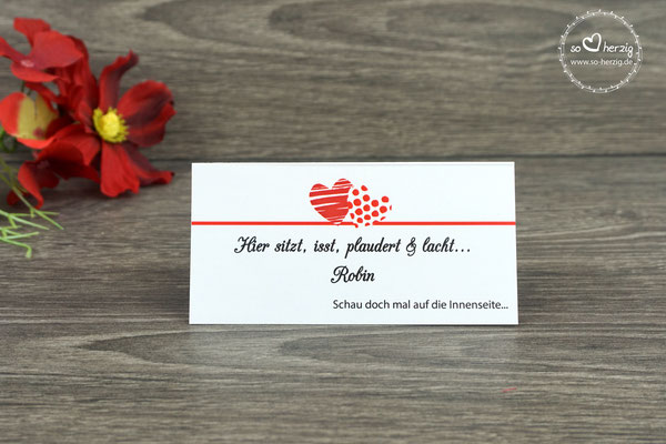 """Platzkarte mit Spiel auf der Rückseite, Design """"zwei Herzen"""" rot"""