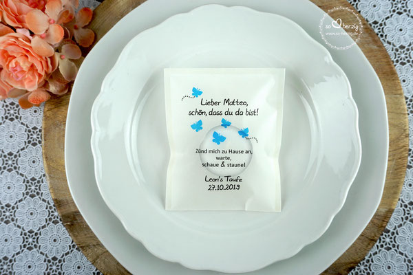 Licht-Botschaft zur Taufe, Design Schmetterlinge blau, Schrift Julius B Thyssen