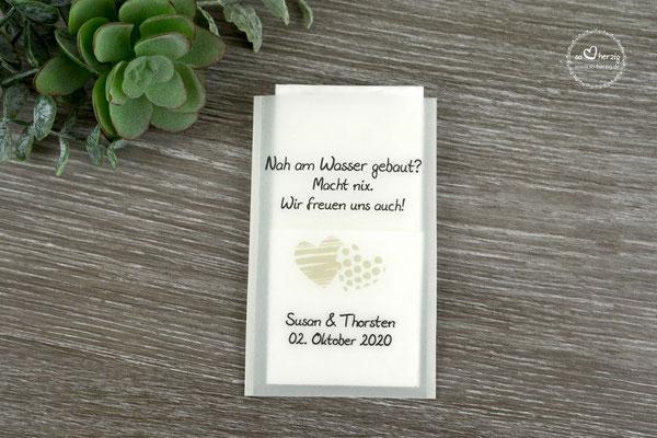 "Freudentränen Taschentücher aus Pergamentpapier Design ""zwei Herzen"" Beige"
