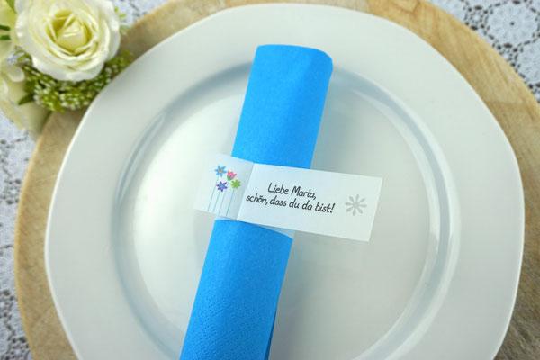 Serviettenring Design Blumenwiese Blau, Randabschluss Blümchen