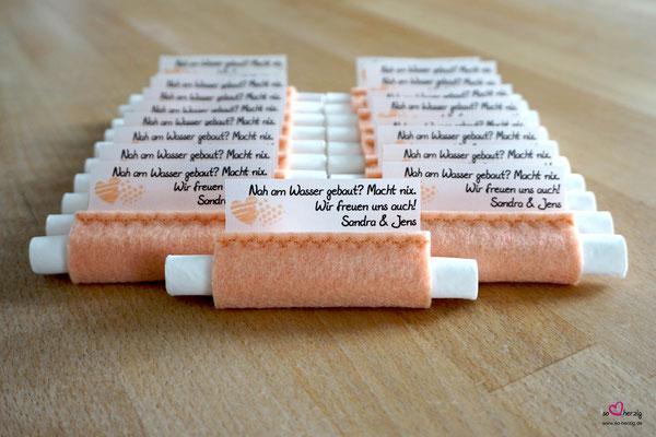 Freudentränen Taschentücher Filz Apricot, Design zwei Herzen Apricot