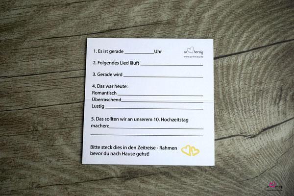 Platzkarte mit Spiel auf der Rückseite, Design Aquarellherzen Gelb, Sonderwunsch - Spielfragen angepasst