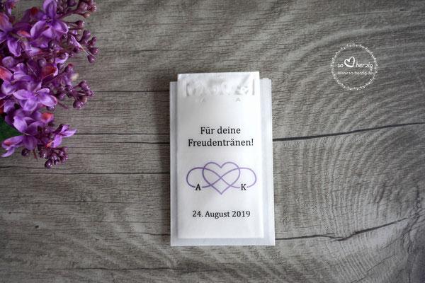 """Freudentränen Taschentücher flach mit Herzrand - Sonderanfertigung """"eigenes Logo & Schriften"""""""