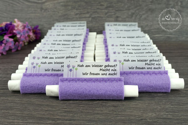 Freudentränen Taschentücher aus Filz flieder, Design Blumenwiese - Sonderanfertigung