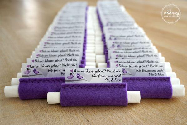 Freudentränen Taschentücher Filz lila Design Hochzeitsvögel lila/flieder
