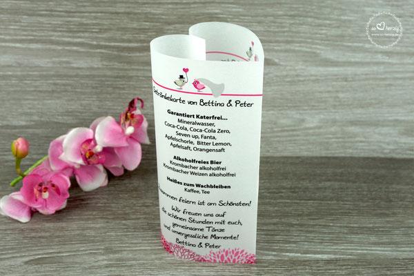Getränkekarte Herzform 17cm Design Hochzeitsvögel Pink/Beigegrau