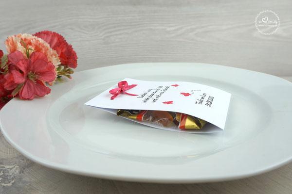 Fruchtgummi Platzkarte Design Schmetterlinge Pink - Seitenansicht