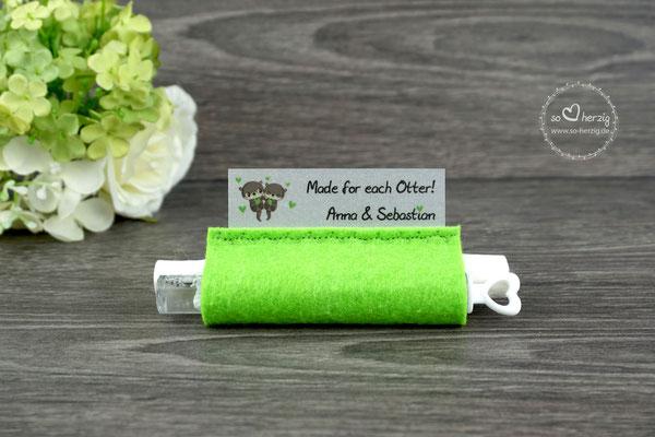 Freudentränen Taschentücher mit Bubbles, Filz Apfelgrün, Design Otter - Sonderanfertigung