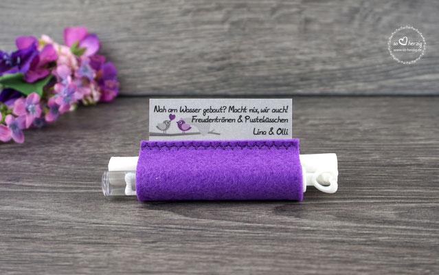 Freudentränen Taschentücher Filz Lila mit Bubbles, Design Liebesvögel Lila/Graubraun