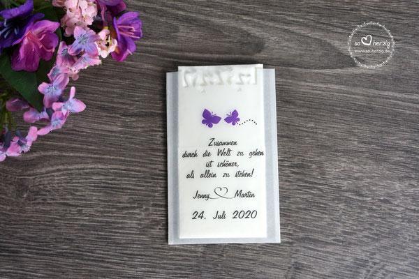 """Freudentränen Taschentücher Flach Design """"Schmetterlinge"""" Lila, mit Herzrand"""