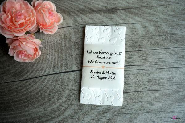 Freudentränen Taschentücher Banderole, Design Herzband apricot