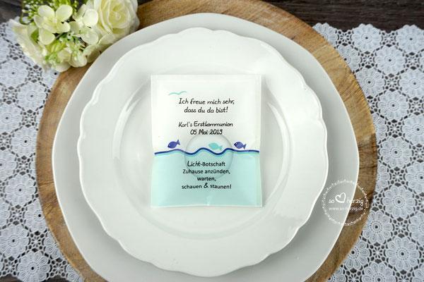 """Teelicht-Botschaft """"Verpackung als Platzkarte"""", Design Fische Sonderwunsch - Rand unten türkis + Möve"""