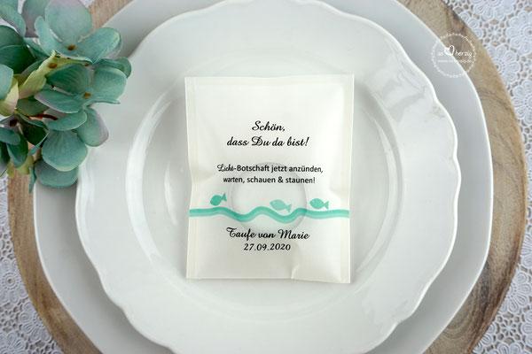 Teelicht-Botschaft Design Fische Mint
