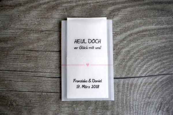 Freudentränen Taschentücher Design Herzband, Farbe Puderrosa