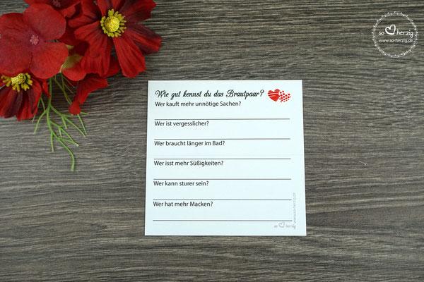 """Platzkarte - Rückseite Spiel """"Wie gut kennst du das Brautpaar"""""""