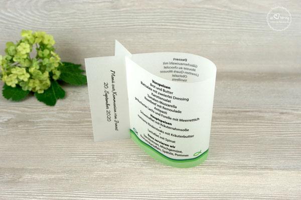 Menükarten 10,5cm Fischform, Design Fisch Silhouette Grasgrün - Sonderwunsch Flosse bedruckt