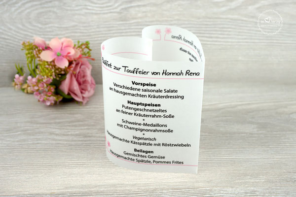 Menükarte Herzform 10,5cm, Design Blümchen Rosa