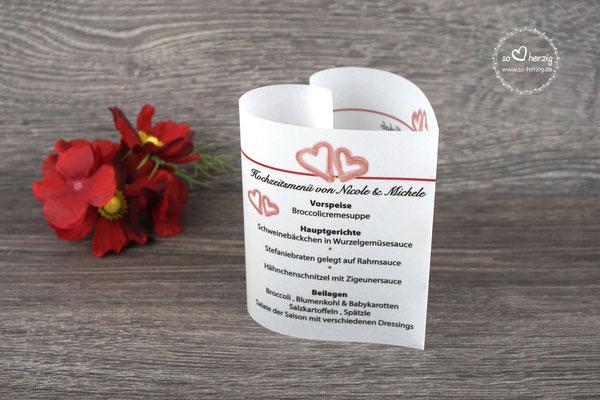 Menükarte Herzform 10,5cm, Design kleine Aquarellherzen, Farbe bordeaux