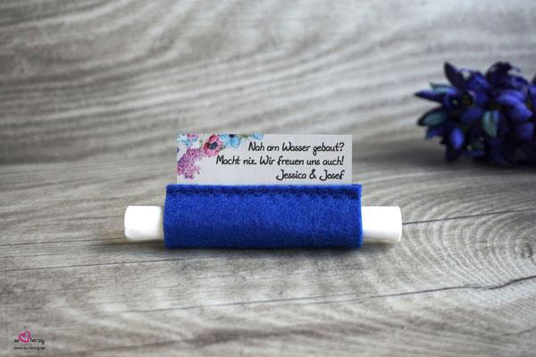 Freudentränen Taschentücher Filz Royalblau - Sonderwunsch Design Blumen