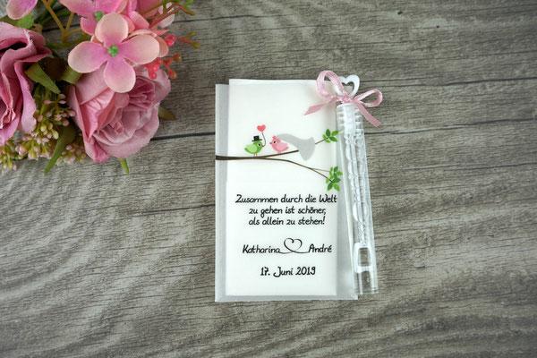 """Freudentränen flach mit Bubbles, Design """"Hochzeitsvögel auf verzweigtem Ast"""" rosa/grün"""