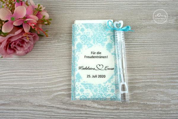 Freudentränen Taschentücher Flach mit Bubbles, Design Spitze Vintage Türkis hell