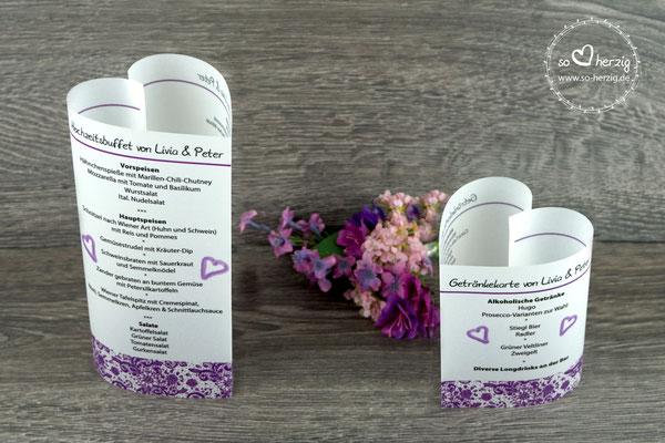 "Menükarten ""Herzform"" Design Spitze, Farbe lila"