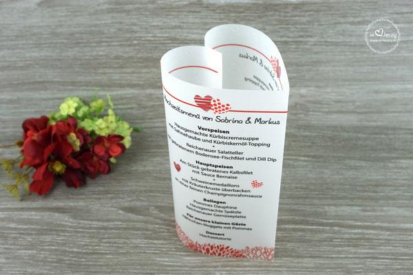 "Menükarte Herzform 17cm  Design ""zwei Herzen"" Farbe Rot"
