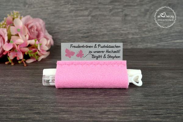 """Freudentränen Taschentücher mit Weddingbubbles, Filz Rosa Design """"Schmetterlinge"""""""