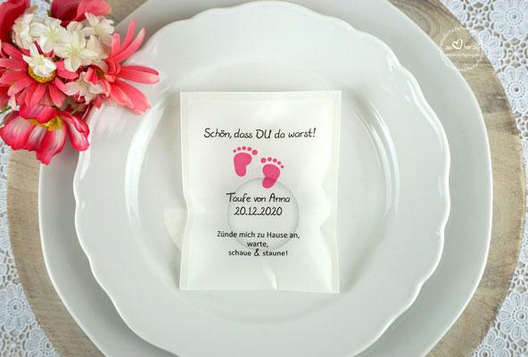 Teelicht-Botschaft Design Foot  Pink