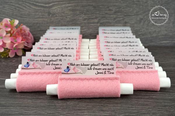 Freudentränen Taschentücher aus Filz Puderrosa, Design Hochzeitsvögel Royalblau/Puderrosa - Sonderanfertigung