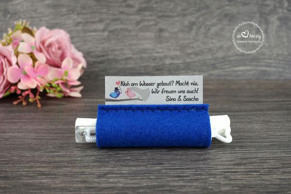Freudentränen Taschentücher aus Filz Royalblau, Design Hochzeitsvögel Royalblau/Puderrosa - Sonderanfertigung
