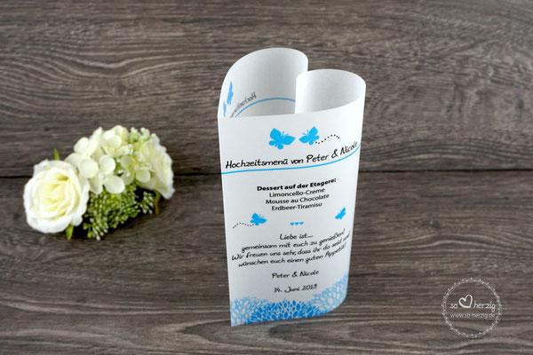 Menükarte 17cm, Design Schmetterlinge blau