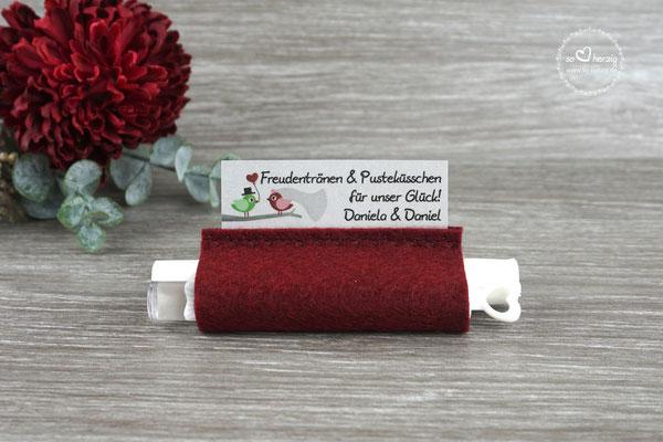 """Freudentränen Taschentücher mit Weddingbubbles, Filz Bordeaux Design """"Hochzeitsvögel Bordeaux/Grün"""""""
