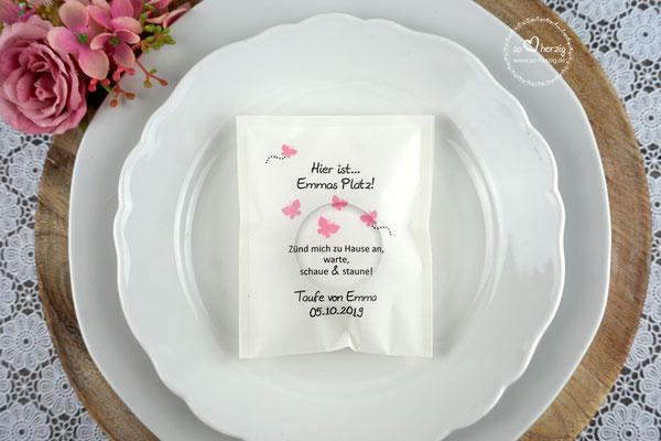 Licht-Botschaft zur Taufe, Design Schmetterlinge rosa, Schrift Julius B Thyssen