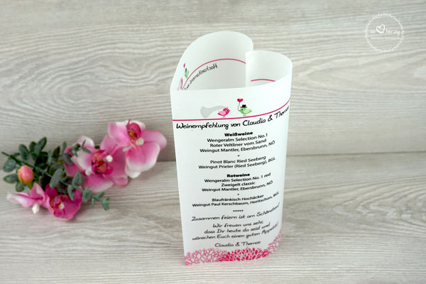 Menükarte 17cm Design Hochzeitsvögel Pink/Grün - Schrift Julius B Thyssen
