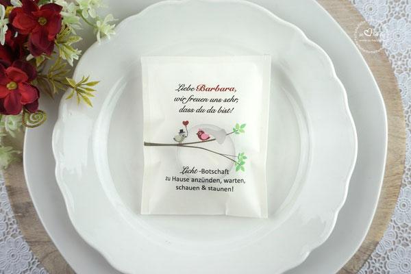 """Teelicht-Botschaft Design """"Hochzeitsvögel auf verzweigtem Ast"""" Bordeaux/Graubraun"""