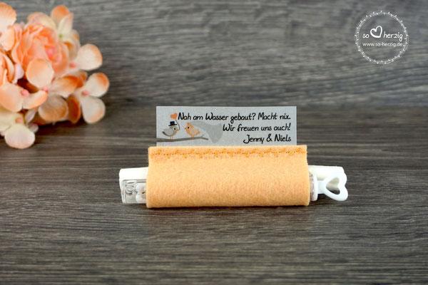 Freudentränen Taschentücher mit Bubbles, Filz apricot, Design Hochzeitsvögel graubraun/apricot