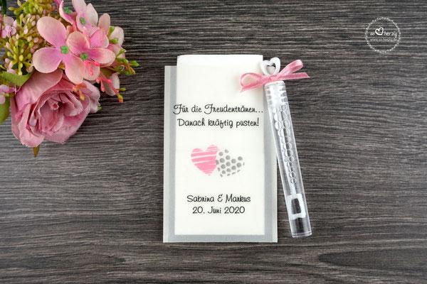 """Freudentränen Taschentücher aus Pergamentpapier mit Bubbles, Design """"zwei Herzen"""" Rosa/Grau - Sonderwunsch"""