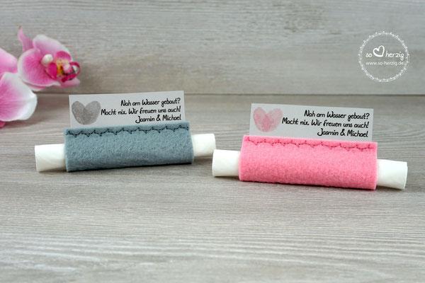 Freudentränen Taschentücher mit Bubbles, Design Fingerprint, Filz rosa & grau - Sonderwunsch