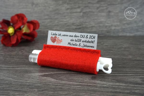 "Freudentränen Taschentücher mit Weddingbubbles, Design ""Zwei Herzen"" Filz Rot"