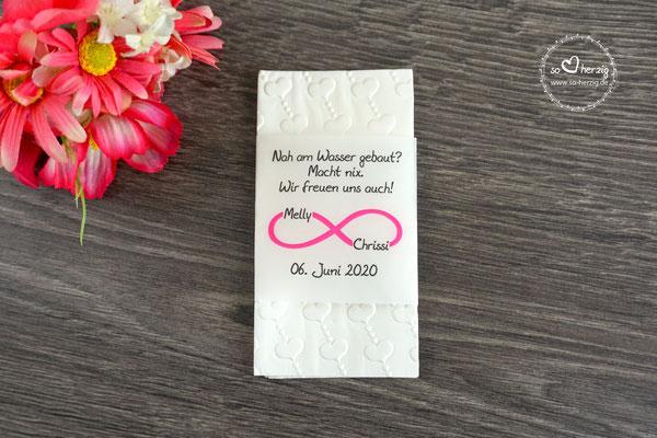 Freudentränen Taschentücher Banderole, Design Unendlich Pink